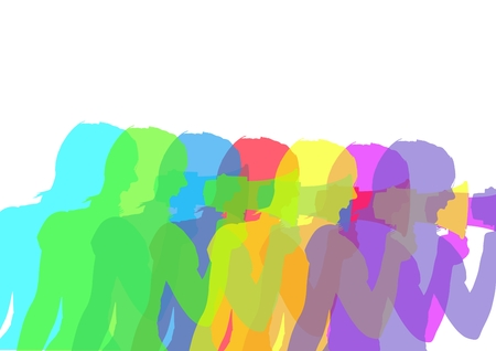 Digital composite of Woman with megaphone silhouettes in intense colors. White background