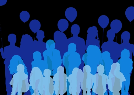 Digital composite of Happy birthday surprise silhouettes in range of blues with black background