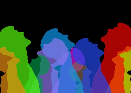 Digital composite of Intense color silhouettes of a man looking up . Black background