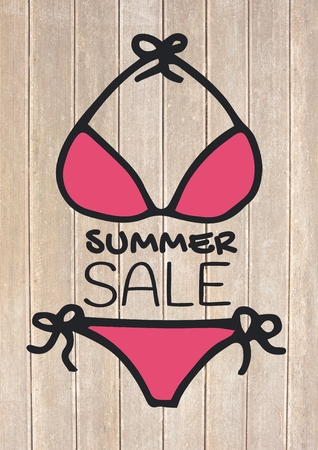 timber floor: Digital composite of Summer sale text and pink bikini against decking