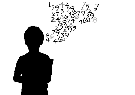 numeracy: Digital composite of boy silhouette with text coming up from his head.
