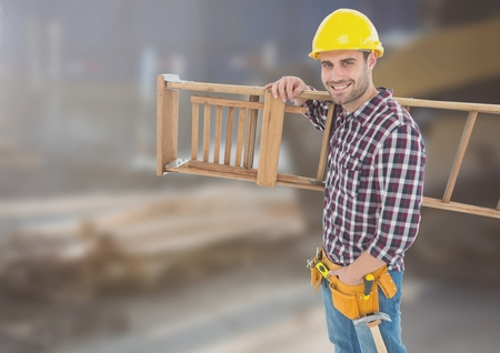 Digital composite of Construction Worker with ladder in front of construction site