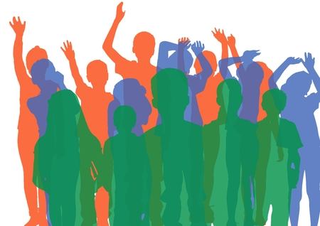 introducing: Digital composite of Kids group silhouettes with opacity in green, blue and orange. Stock Photo