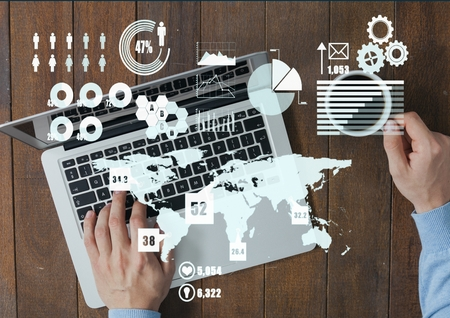 Digital composite of Composite image of hands of businessman working on a laptop and scriptures Stock Photo - 79315703