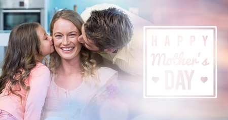 Digital composite of Mum kissed by her husband and her daughter for mothers day