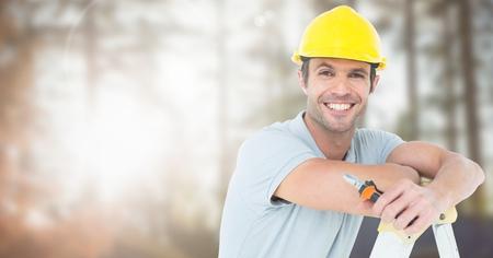 Digital composite of Carpenter on building site