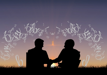 Digital composite of friends silhouettes in front of the sunset with text around them Stock Photo