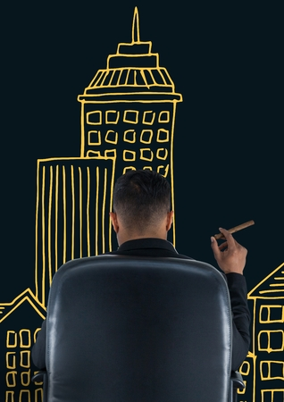 Digital composite of Rear view of businessman sitting on chair in front of drawn buildings while smoking