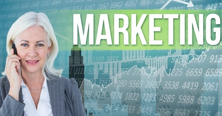 well dressed woman: Digital composite of Digital composite image of businesswoman talking on phone standing by marketing text against graphs