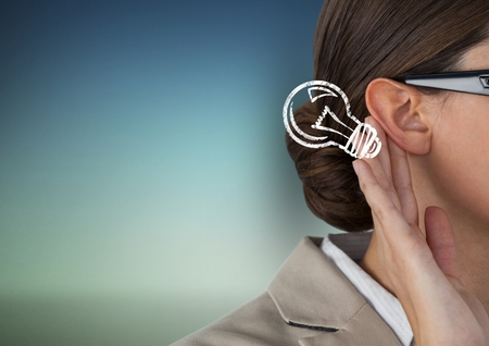 smother: Digital composite of Cropped image of businesswoman listening idea Stock Photo
