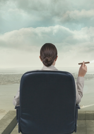 cigar smoking woman: Digital composite of Rear view of businesswoman sitting in chair smoking cigarette against sky