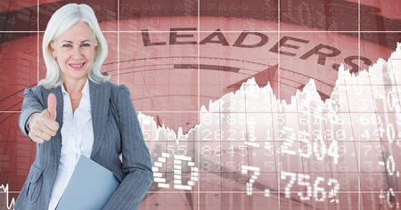 well dressed woman: Digital composite of Digital composite image of businesswoman gesturing thumbs up standing against numbers and compass wi