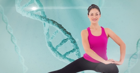dna smile: Digital composite of Digital composite image of sports woman doing yoga against chain of dna