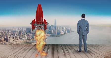 Digital composite of Digital composite image of businessman standing by rocket launch on pier while looking at sea and ci