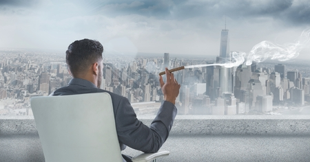 bad weather: Digital composite of Rear view of businessman sitting on chair and smoking cigar while looking at city Stock Photo
