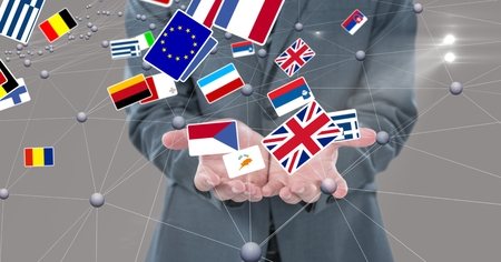invisible: Digital composite of Midsection of business person surrounded with various flags and connecting dots Stock Photo