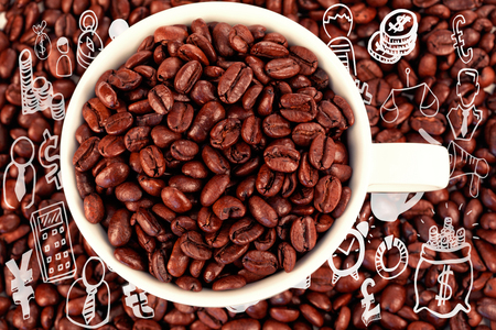 Composite image of different computer icons against small white cup full of coffee beans Stock Photo