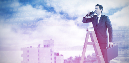 using binoculars: Businessman looking on a ladder against stocks and shares