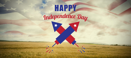 Digitally composite image of Happy Independence Day text against field in the countryside Stock Photo