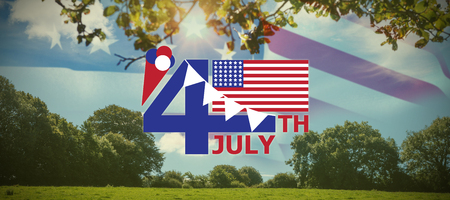 Vector image of 4th July text with flag and decoration  against green field