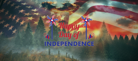Vector image of Happy Independence day text with decoration  against country scene