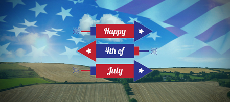 Digitally generated image of rockets with happy 4th of july text  against country scene Stock Photo