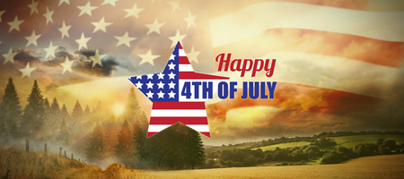 Digitally generated image of star shape American flag with text  against country scene Stock Photo