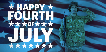 Portrait of soldier with rifle saluting against happy fourth of july