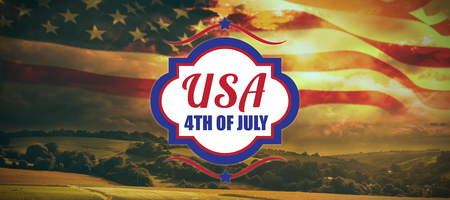Digitally generated image of 4th of july text  against country scene Stock Photo