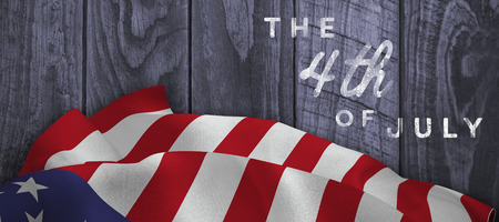 panelling: Colorful happy 4th of july text against white background against wood panelling