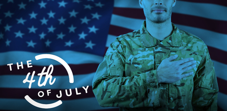 Mid section of soldier taking oath against colorful happy 4th of july text against white background