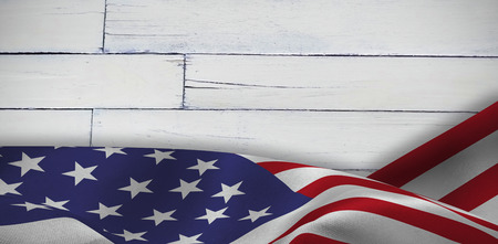 Focus on usa FLAG against wood panelling Stock Photo