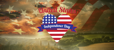 Digitally generated image of heart shape with Independence Day text  against country scene