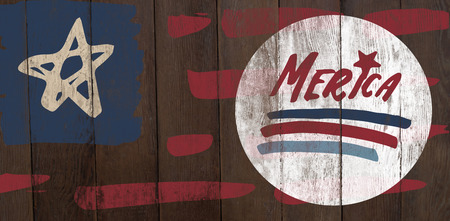 digitally generated image: Digitally generated image of merica text against wood panelling Stock Photo