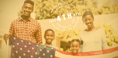 enjoying: Multi colored happy 4th of july text against white background against portrait of happy family holding american flag on sunny day