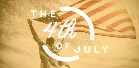 Colorful happy 4th of july text against white background against low angle view of man holding american flag against cloudy sky Banco de Imagens