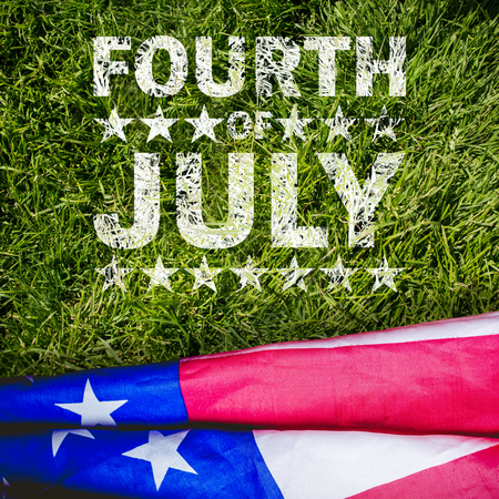 Celebrate fourth of july against grass background