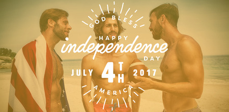 Digitally generated image of happy 4th of july text against smiling friends at the beach Stock Photo