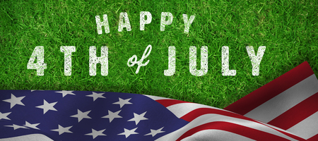 Digitally generated image of happy 4th of july text against closed up view of grass