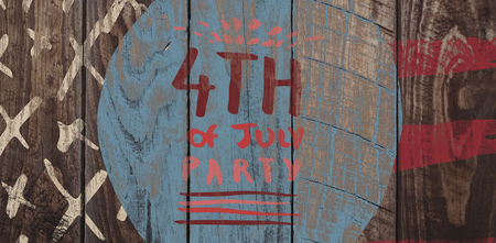 Digitally generated image of 4th of july party text against wood panelling Stock Photo