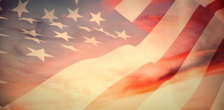 Close up of the us flag against full frame shot of sky Standard-Bild