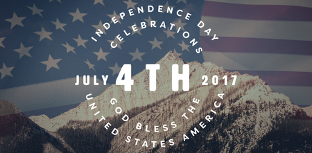 snow capped: Multi colored happy 4th of july text against white background against united states of america flag