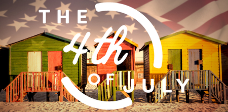 Colorful happy 4th of july text against white background against multi colored huts on sand against clear sky
