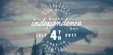 ranges: Digitally generated image of happy 4th of july text against snowy mountain range against sky