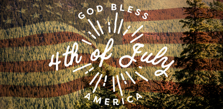 Digitally generated image of happy 4th of july message against scenic view of forest