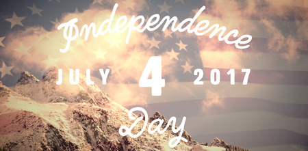 Digitally generated image of happy 4th of july message against united states of america flag Stock Photo
