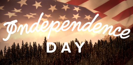Independence day text against white background against pine trees in forest