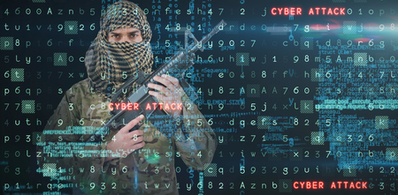 cyber war: Portrait of face covered soldier holding rifle against virus background Stock Photo