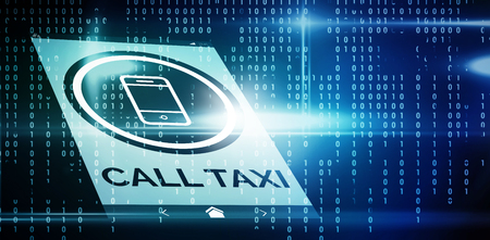 scrolling: Vector image of call taxi text with mobile icon  against blue technology interface with binary code