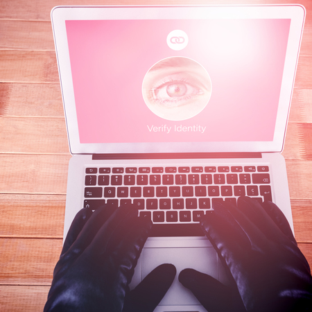 Iris recognition against cropped hands of hacker using laptop